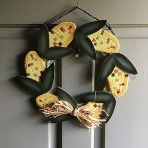 WOODEN HARVEST CORN WREATH - For Fall Door Decor